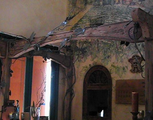 Custom Forged Iron Vines and Wood Bar Canapy - El Dorado Hills