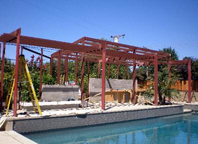 Installation of Custom Steel Pool Patio Shade Structure
