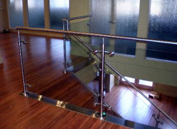 Custom Stainless Steel and Glass Stair Railing