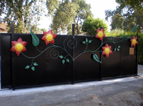 Custom Steel Fencing with Steel Vine Artwork