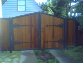 Ornamental Iron and Wood Driveway Gate with Custom Strap Hinges