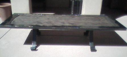 Wood and Steel Patio Table