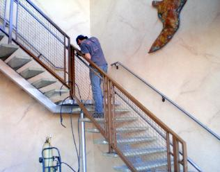 Commercial Ornamental Iron Stair Rail with Stainless Grab Rail