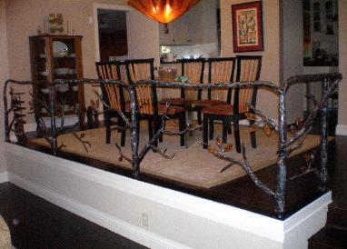 Artistic Iron Tree Railing with Glass Leaves - Folsom