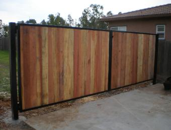 Steel Frame with Redwood Fence Boards